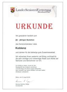 Urkunde 20 Jahre Seniorenbeirat Koblenz, ausgestellt von der LandesSeniorenVertretung Rheinland-Pfalz e.V.